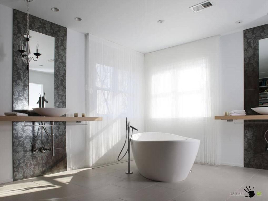Белоснежный тюль для ванной комнаты