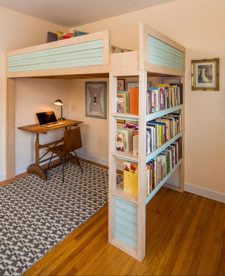 Кровать чердак с системами хранения