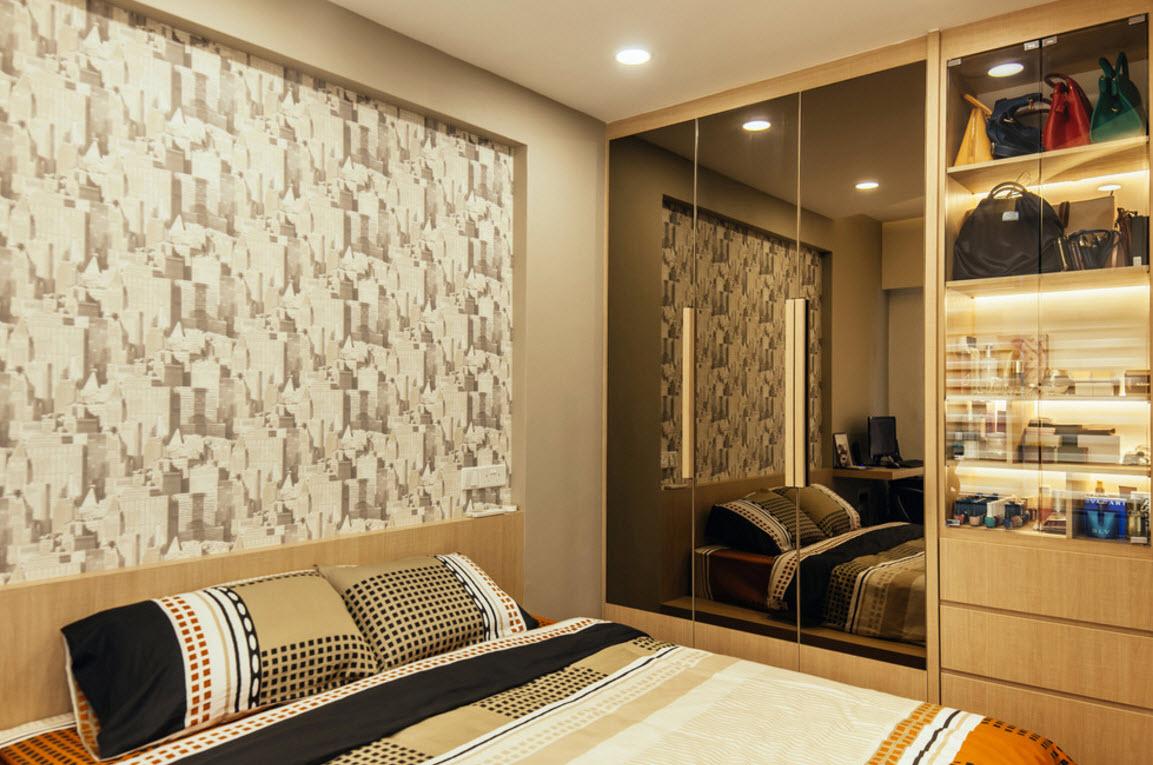 Встроенный шкаф в интерьере спальни