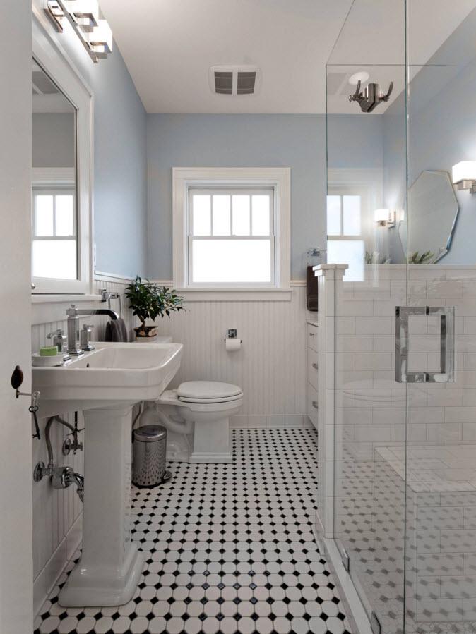 Бело-черное напольное покрытие для ванной