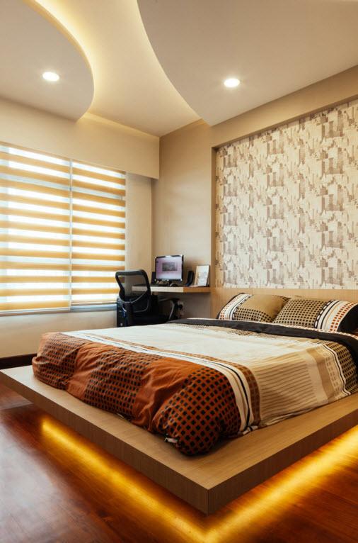 Оригинальный эффект от встроенной подсветки в спальне