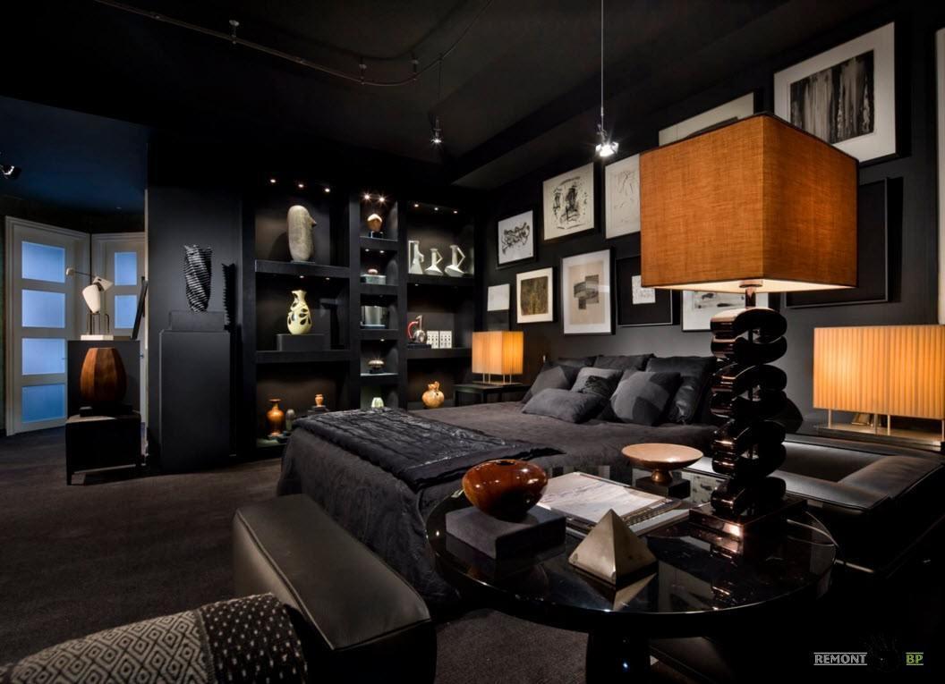Черная спальня в эклектичном стиле