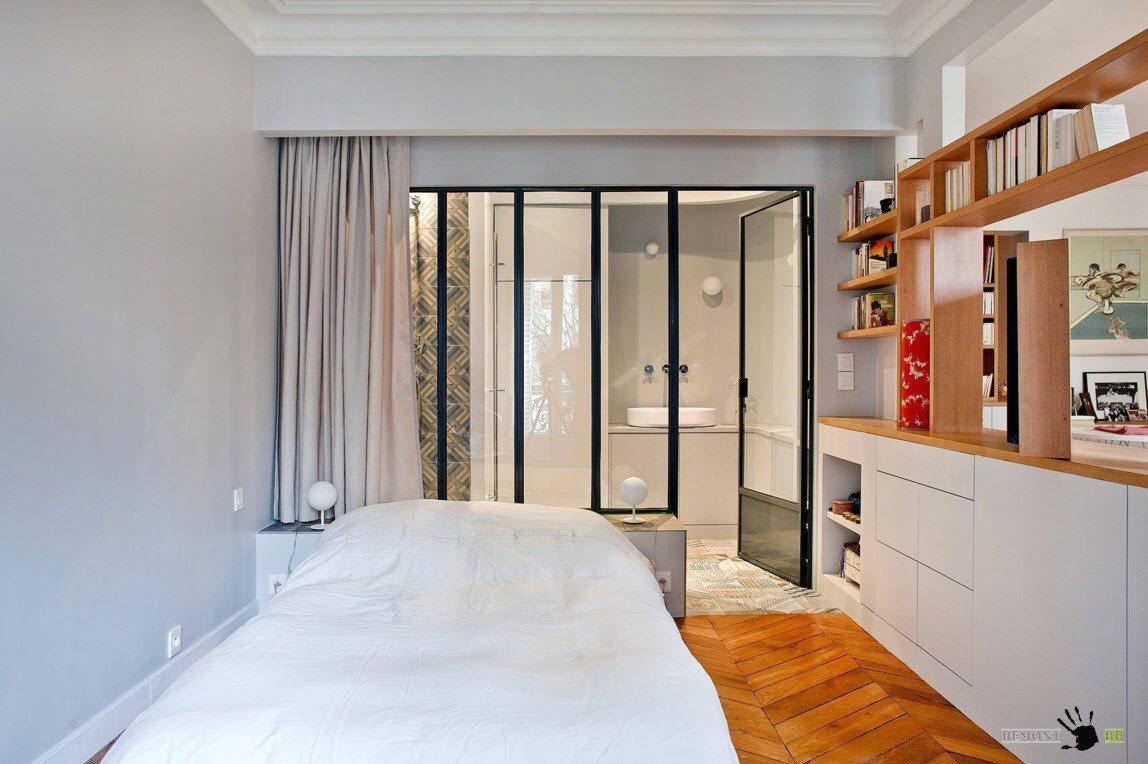 Шторы для зонирования спальни и ванной