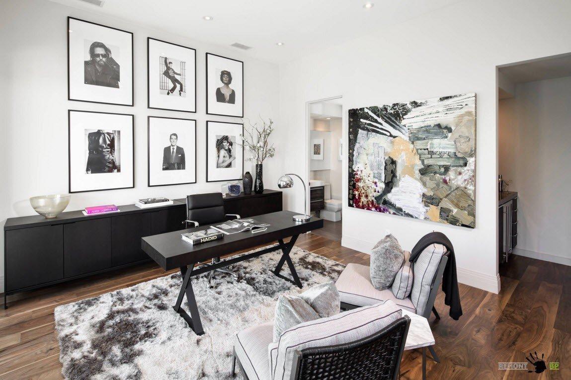 Черно-белый дизайн кабинета