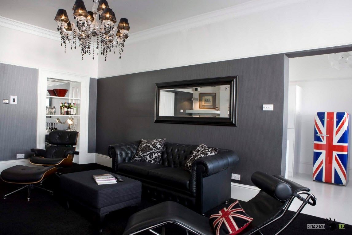Black living room pictures