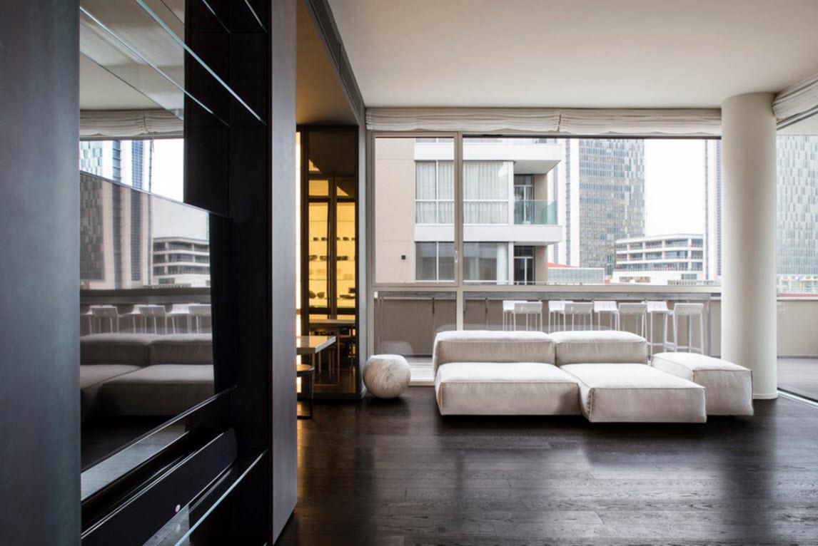 Черно-белые сочетания в дизайне гостиной