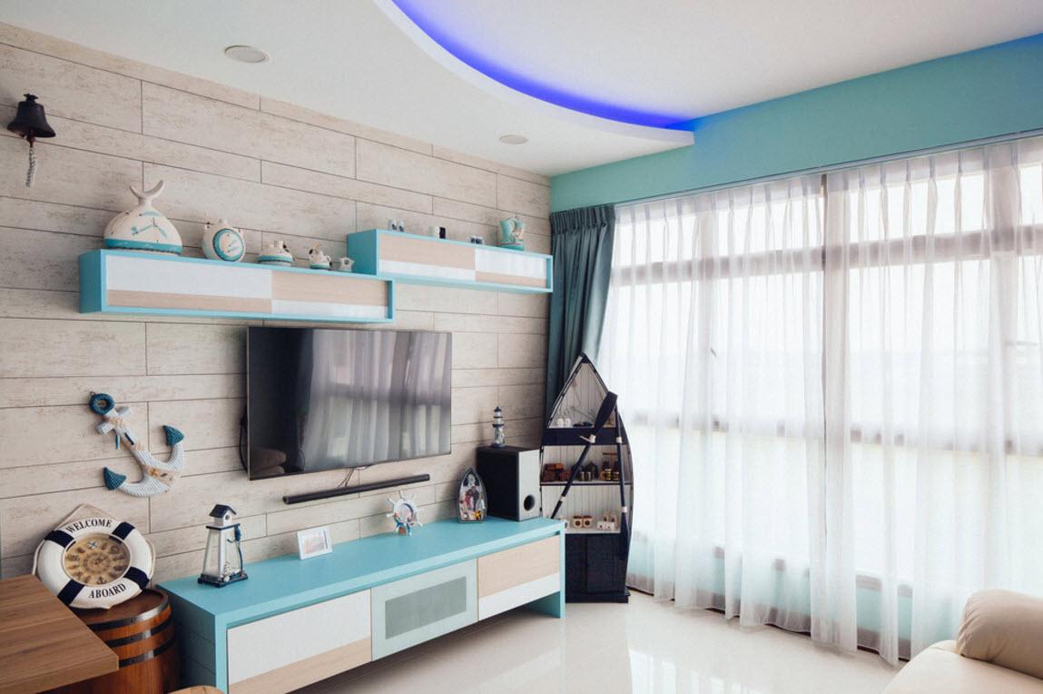 Морская тематика в современной гостиной