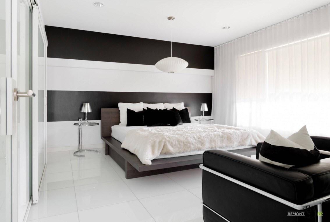 Белые шторы для контрастного интерьера