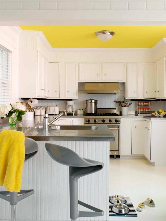 сочетание белого и лимонного в интерьере