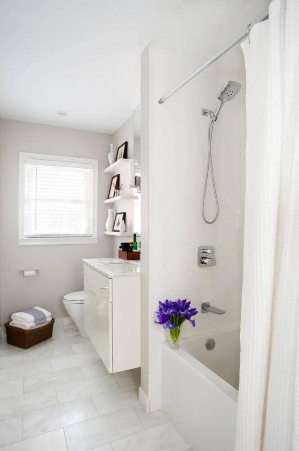 Белоснежный пол для ванной комнаты