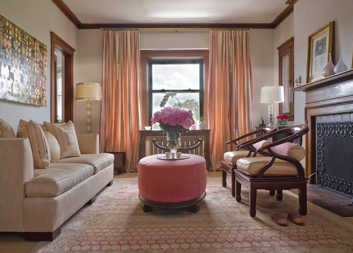 Полосатые шторы для современной гостиной