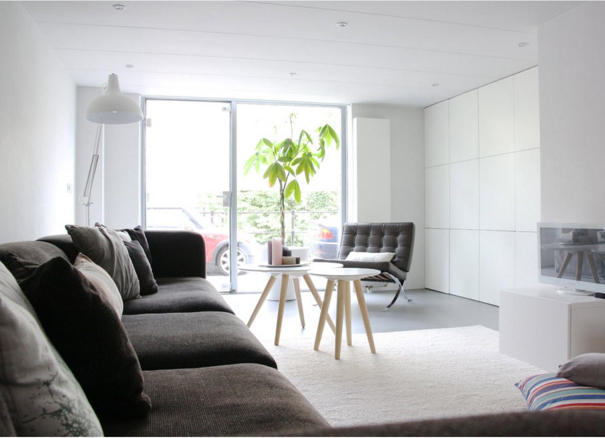 елый пол и темная мебель в гостиной