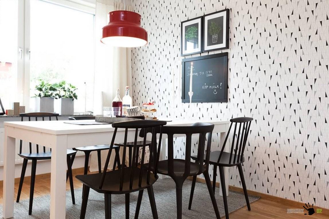 Контрастное оформление столовой зоны