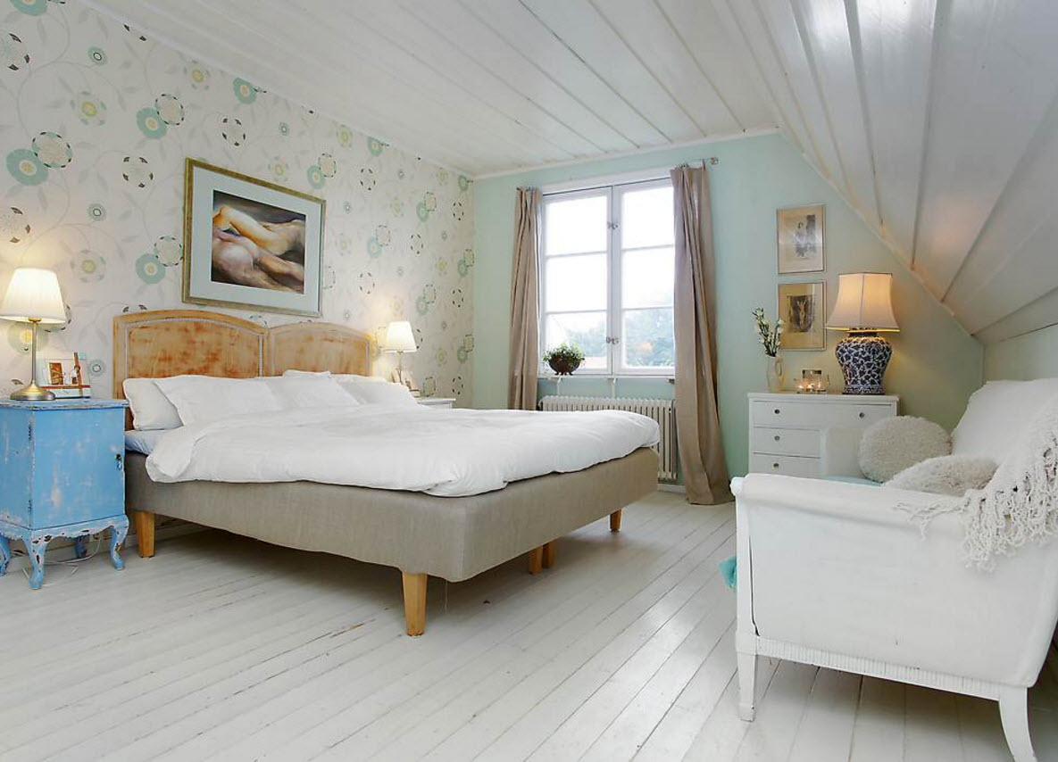 Белый ламинат для спальни