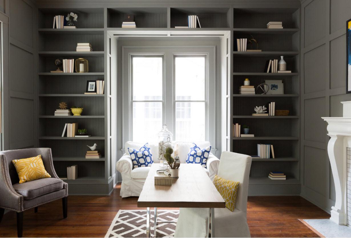 Большой книжный шкаф серого цвета