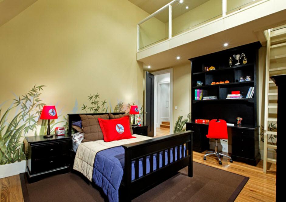 Контрастный и яркий дизайн комнаты для подростка