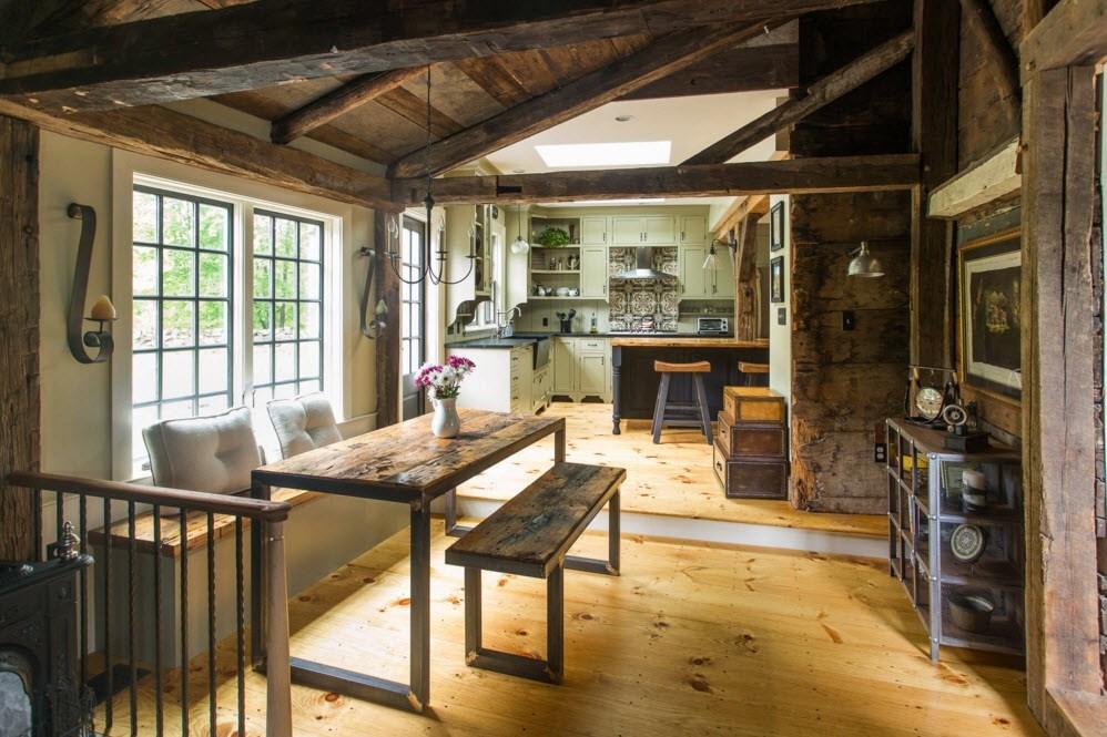 Стиль кантри для дизайна кухни-столовой
