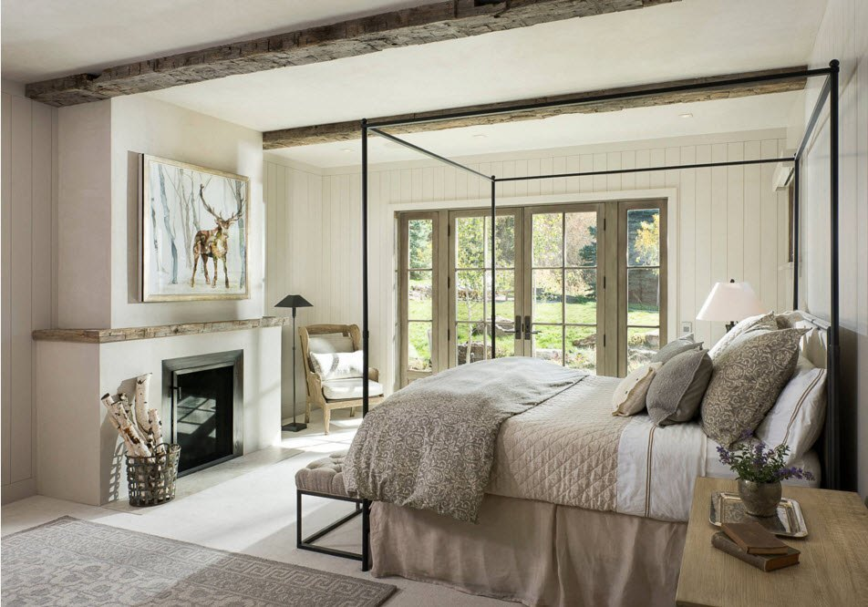 Потолочные балки в интерьере спальни