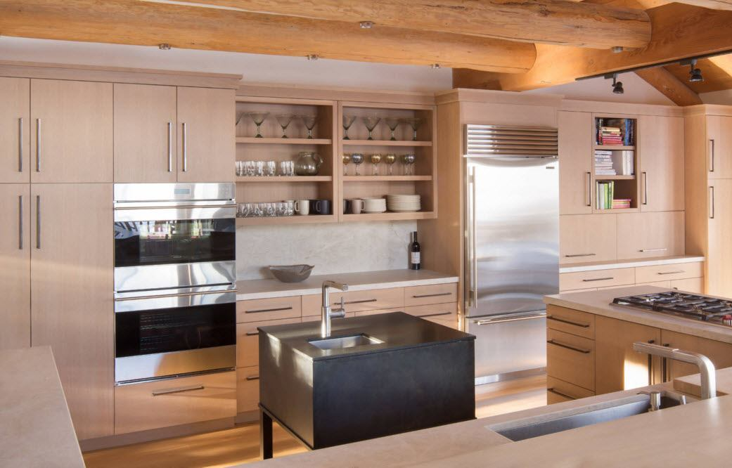 Балки в интерьер кухни