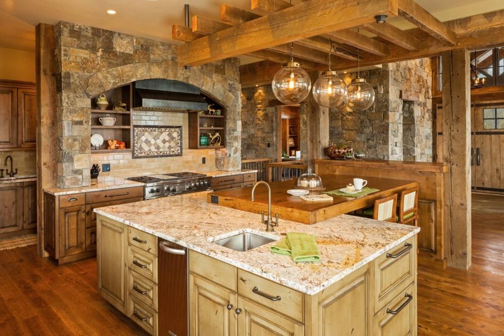 Оригинальное оформление потолка в кухне