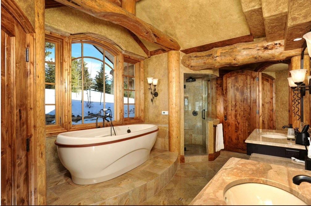 Рустикальность в интерьере ванной комнаты