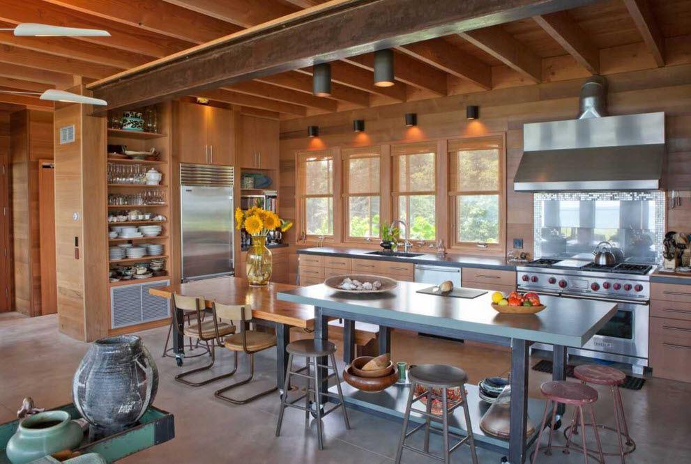 Необычные балки для дизайна кухни