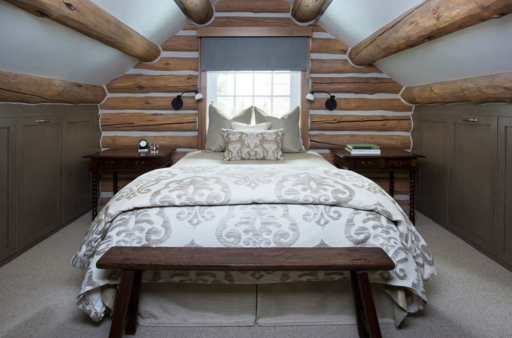 Бревна в дизайне спальни