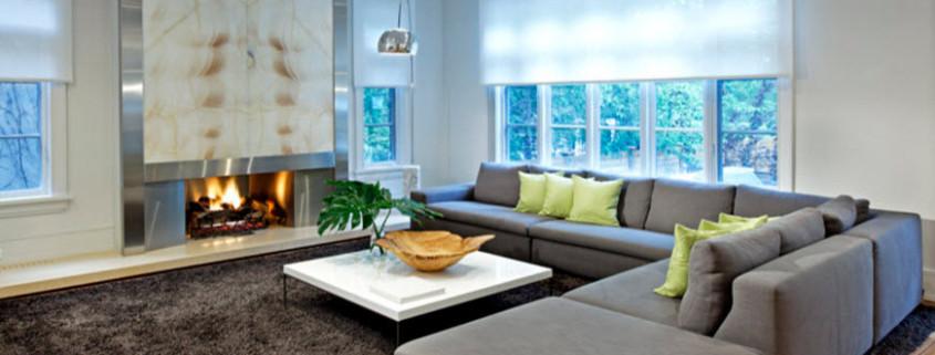 Современный стиль для оформления гостиной частного дома