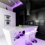 Смелый проект черно-белого интерьера с неоновой подсветкой