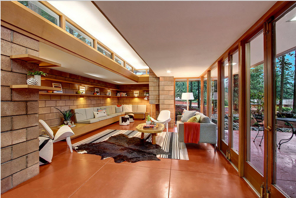 Интерьер гостиной в рыжих тонах