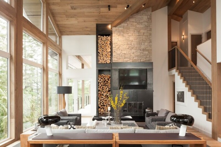 Интерьер загородного дома в эко стиле