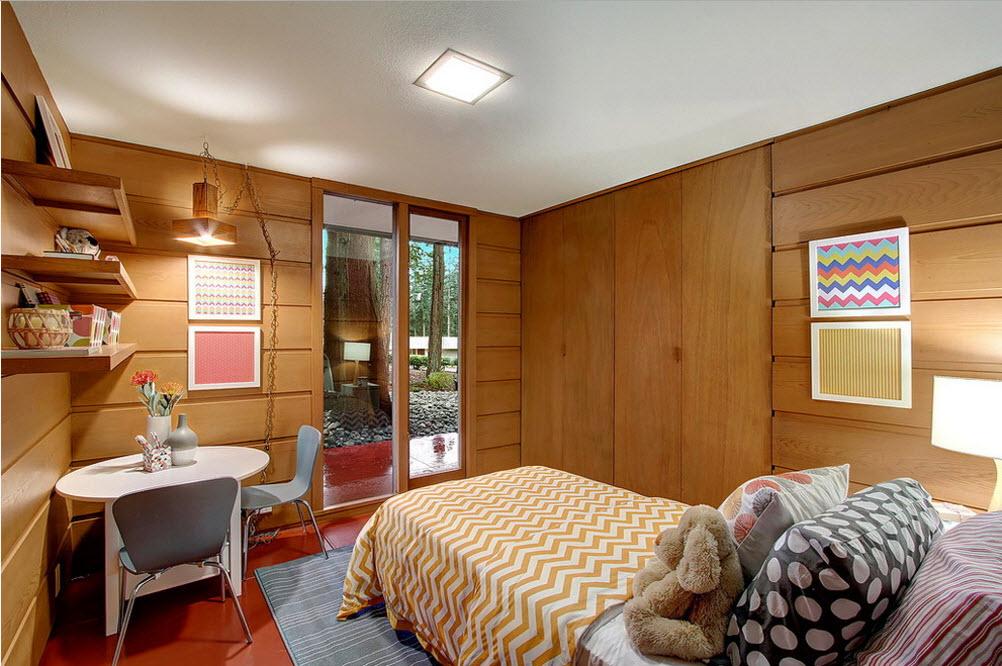 Дизайн комнаты для ребенка с деревянной облицовкой
