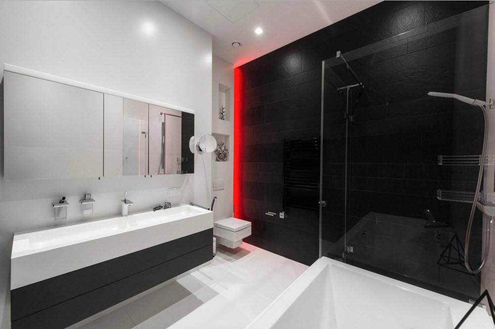 Дизайн проект Хай-Тек квартиры в черно белых тонах