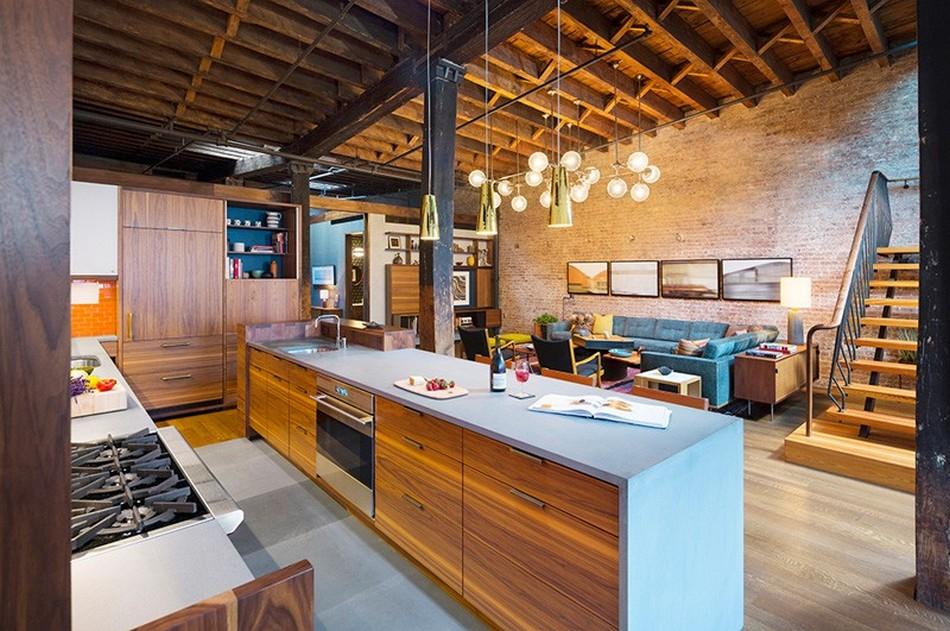 Вид на гостиную из кухонной зоны