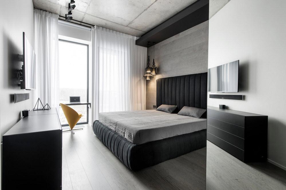 Черно-белые поверхности спального помещения