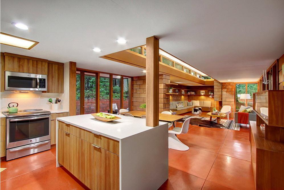 Кухня и столовая в оранжевых тонах