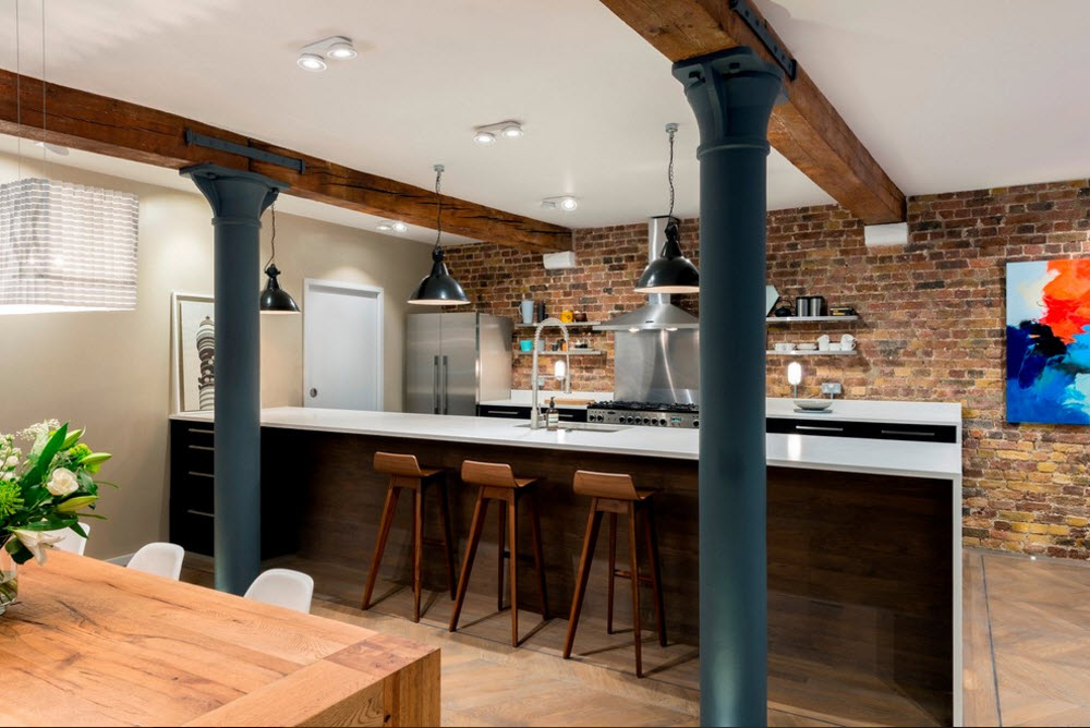 Оригинальный подход к решению кухонной  зоны