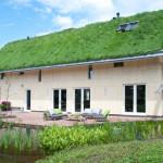Смелый проект частного дома с газоном на крыше