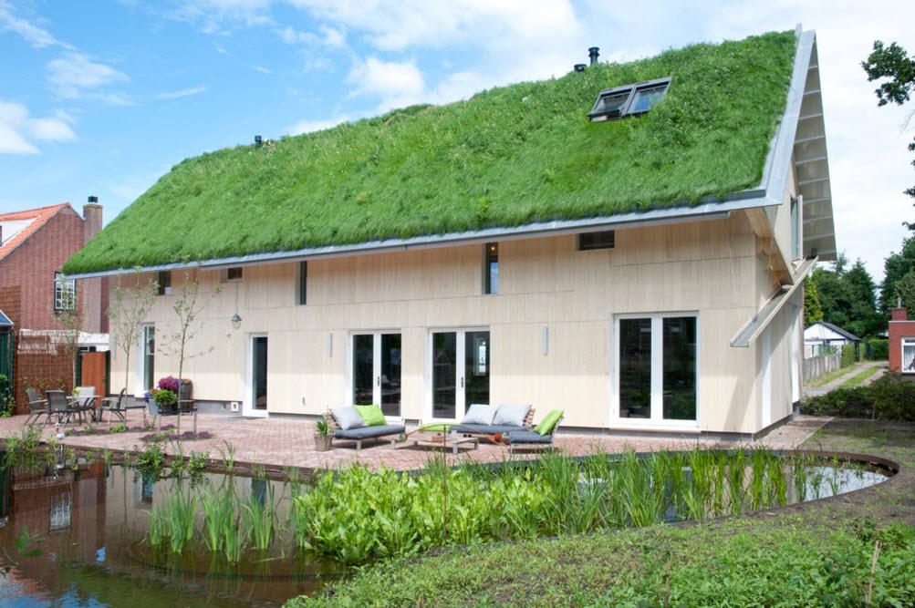 Необычный фасад дома и ландшафтный дизайн двора
