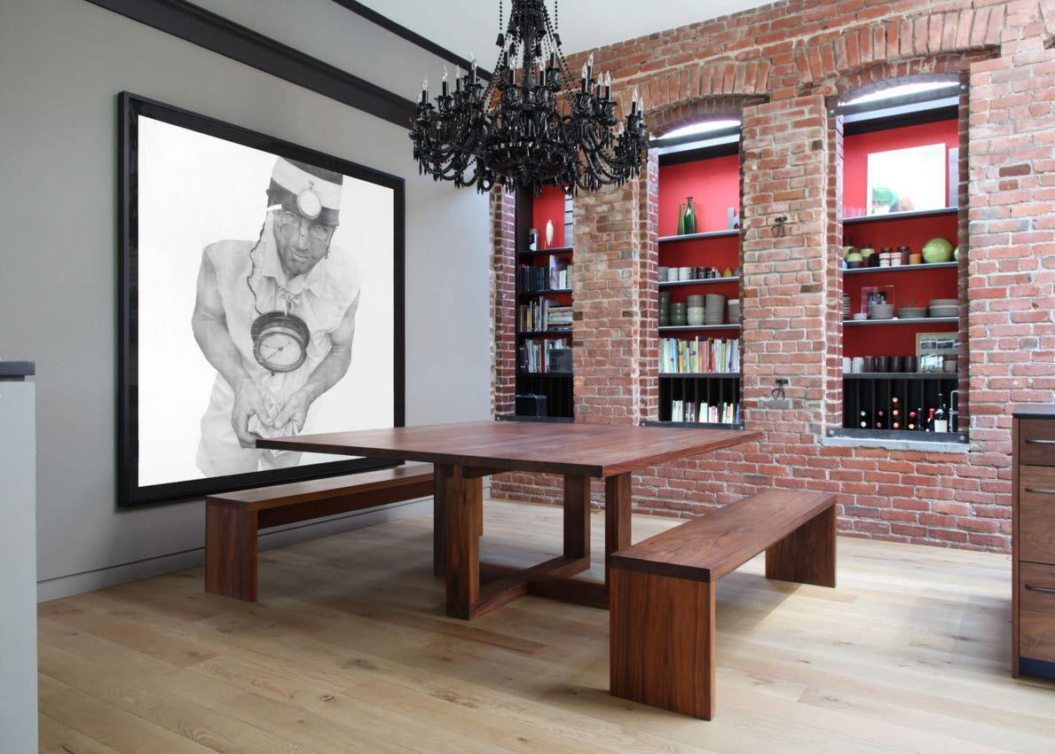 Роскошная столовая со встроенным стеллажом