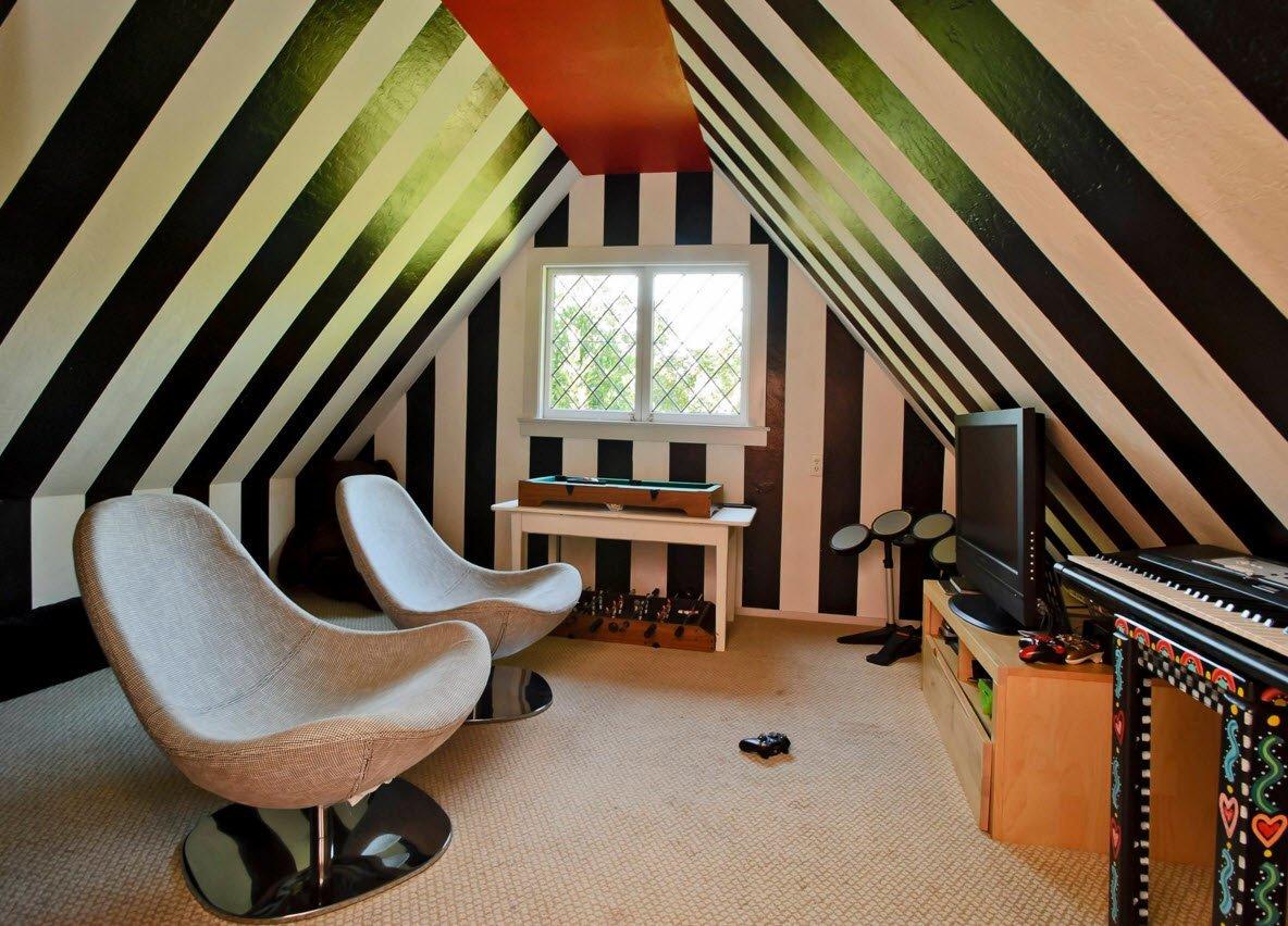Необычный дизайн гостиной на чердаке