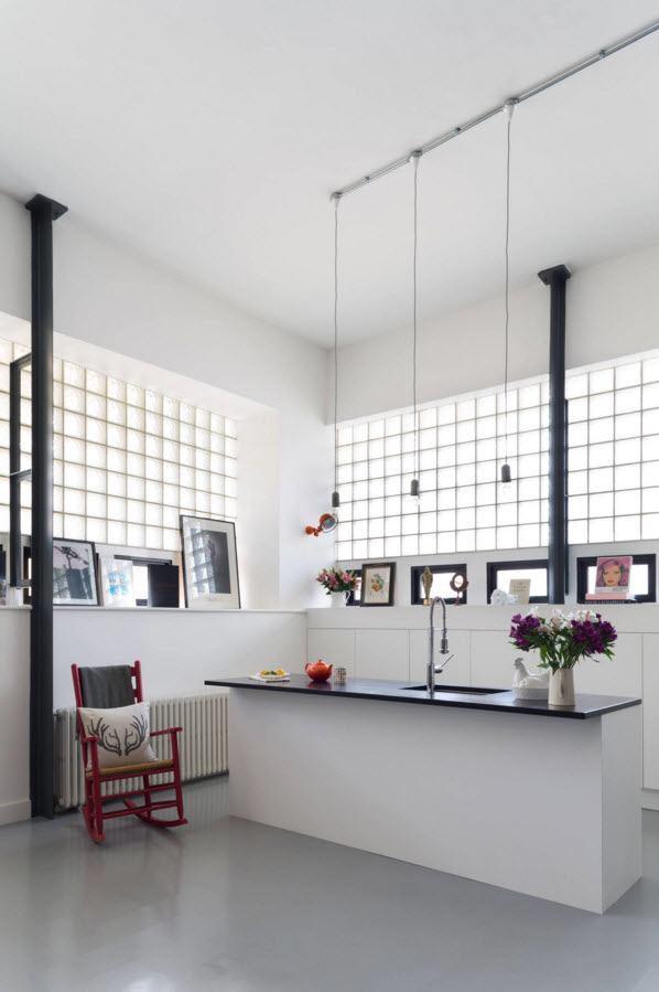 Стеклоблоки в кухонном пространстве
