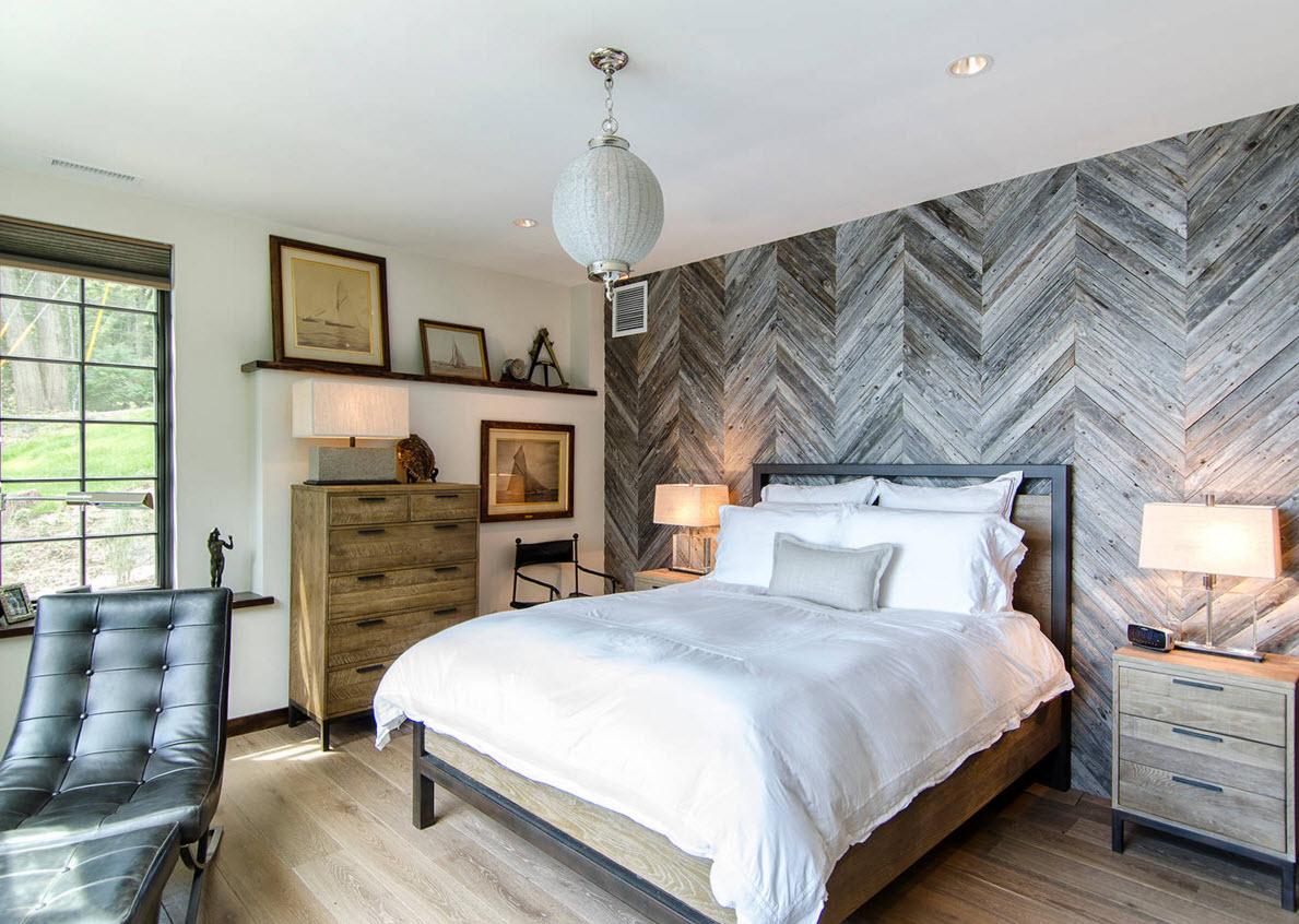 Необычная отделка спальни