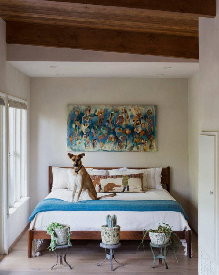 Тканевая картина в спальне