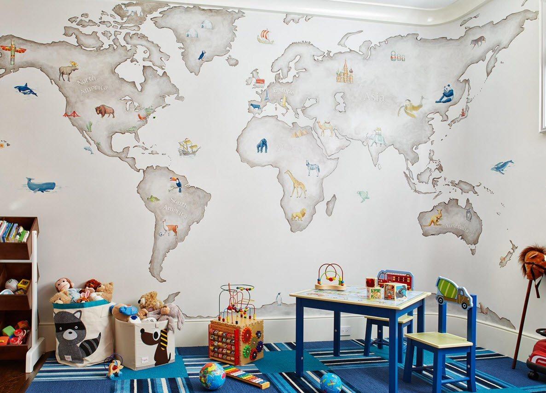 Карта как принт для декора детской