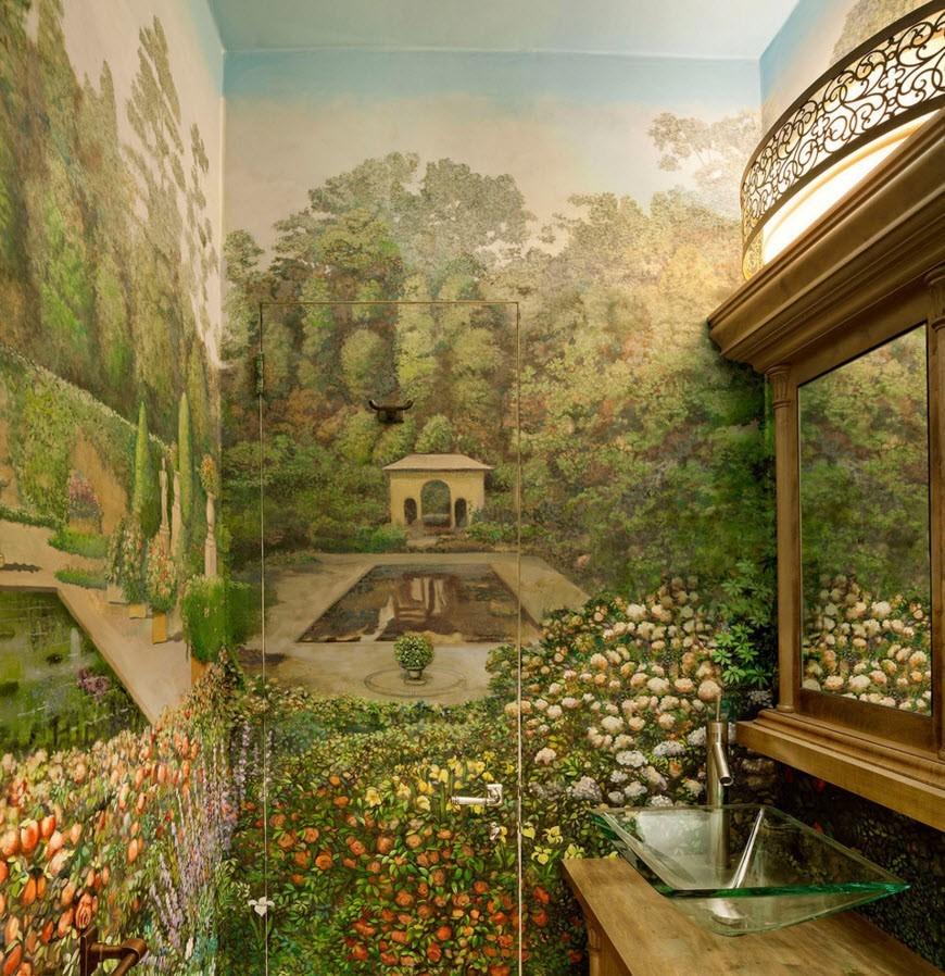 Рисунок в ванной комнате
