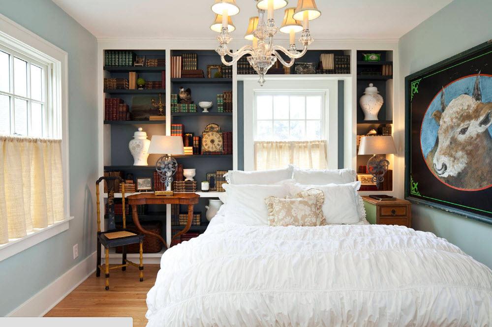 Стеллаж для книг в спальне