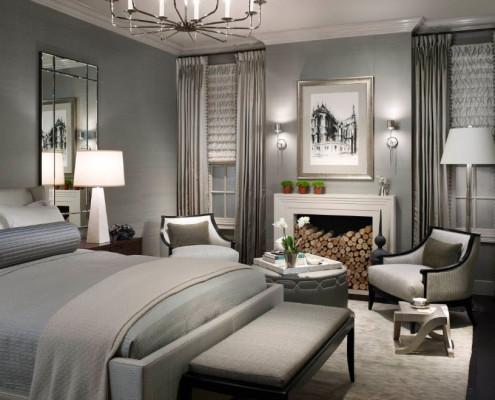 Гостиная зона с камином в спальне