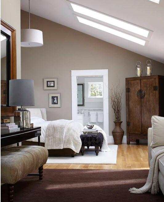 Спальня с окнами на потолке