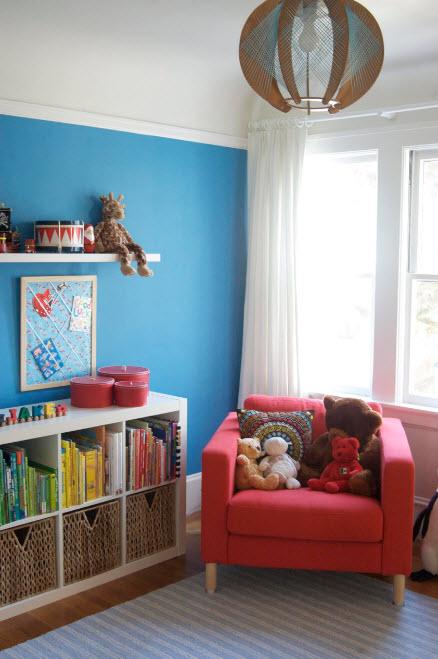 Ячейки для книг в детской комнате